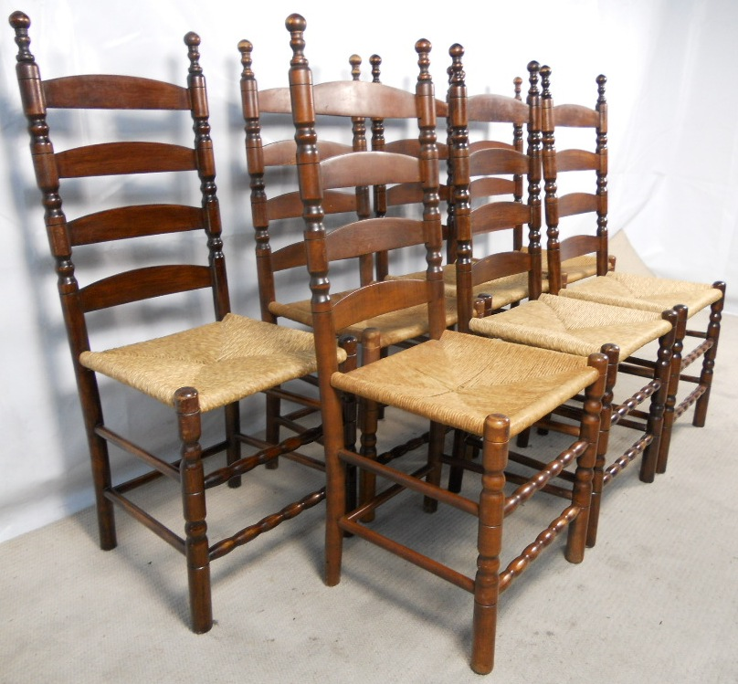 - Set Of Seven Beech Ladderback Dining Chairs With Rush Seats - SOLD